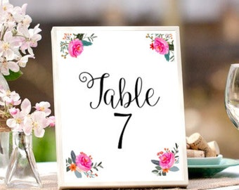 Wedding Table Numbers, Printable Table Numbers, Flower Table Sign,  Wedding Printables, Pink Flowers, Wedding Signage