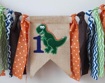 dino dinosaur first birthday banner one green blue orange brown
