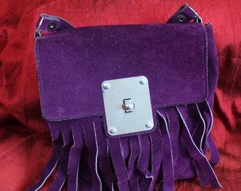 Abdul PARIS, purple vintage 70's fringed bag