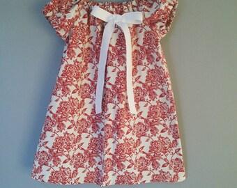 Floral Baby Dress,  Summer Girl Dress,  Red Orange Girl Dress, Baby Girl Dress, Floral Toddler Dress