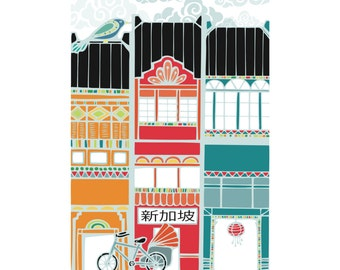 Singapore Vertical Shophouse Print: A4 sized cardstock, printed area approximately 13cm X 18cm