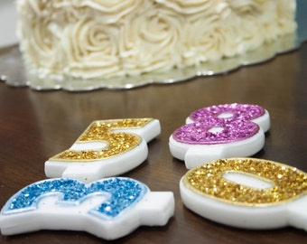 Glitter Birthday Candle, Candle, Glitter, Sparkly Candle, Pick Your Number, Pick Your Color