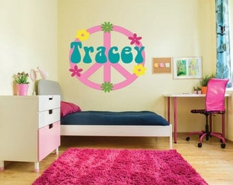 Peace Sign Wall Decal, Teen Girls Wall Decal, Peace Sign Vinyl Decal, Girls Part 59
