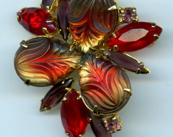 Vintage DeLizza and Elster Juliana Molded Glass Fruit Salad Red Brooch