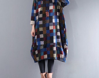 Autumn loose long sleeve dress vintage pattern plaid round neck dress woman