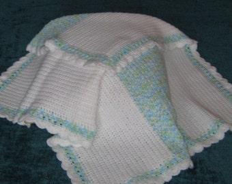 Baby Blanket - White/Blue/Green