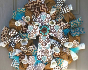 Cross Wreath, Turquoise and Chocolate Brown Mesh Wreath, Burlap Cross Wreath, Cross Decor