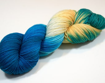 "Handdyed yarn ""Sea breeze"", sockyarn 6-ply"