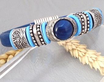 ethnic regaliz blue leather bracelet silver plated clasp
