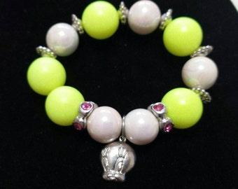 Tweety bird beaded charm bracelet