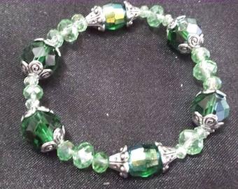Green Czech glass beaded bracelet