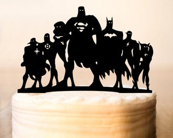 Heroes Cake Topper,Batman and Superman Topper,Falcon Cake Topper,Green Lantern Cake Topper,Flash Cake Topper,Wonder Women Cake Topper(0090)