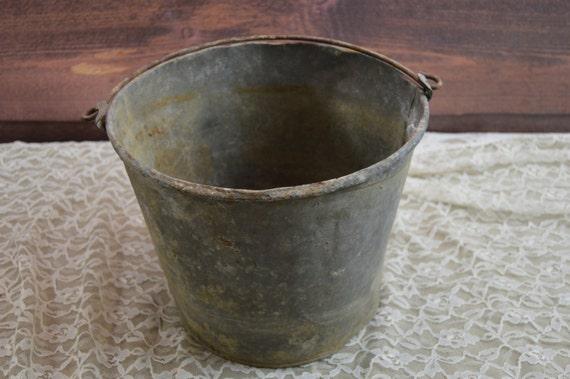 Vintage galvanized bucket galvanized pail antique by hangar87 for Galvanized well bucket