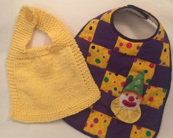 Clowning Around Quilted Baby and Knit Bib Duo