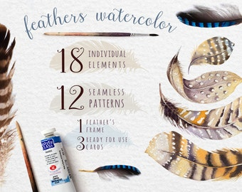 Feathers- Clipart pack5 -Collection - Digital Image, PNG Watercolor feather DIY. Boho style. Hand painted set