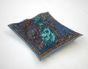 Dark blue embroidered Cushion cover, blue Indian tapestry, wall hanging, placemat, blue embroidered tapestry, Indian Crafts