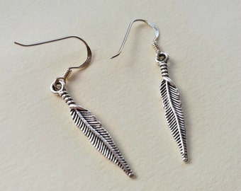 Feather Earrings, Silver Earrings, Dangle Earrings, Charm Earrings