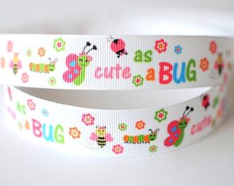 """7/8"""" Grosgrain Ribbon, """"Cute as a BUG"""" Ribbon, Decorative Ribbon, Hair Bow and Craft Ribbon, Ribbon by the Yard"""