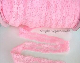 "Pink 1"" Lace Elastic, Headband Elastic, Lace Fabric, Baby Headband Elastic, Lace by the Yard"