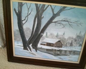 """Vintage Hansen Painting on Canvas Landscape Cabin Winter Sene Wood Framed 29"""" X 25"""""""