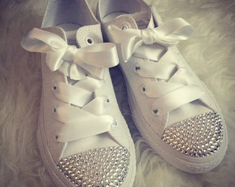 Adult Low Converse with Swarovski Crystals & Silk Ribbon Laces