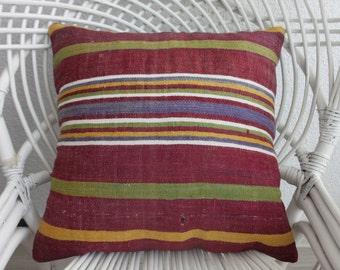 18x18 kilim pillow 45 x 45cm pink kilim rug pink kilim pillow euro pillow outdoor furniture cushion cover pillow cover decor pillow  441