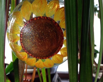 Sunflower hand painted Christmas ornament.