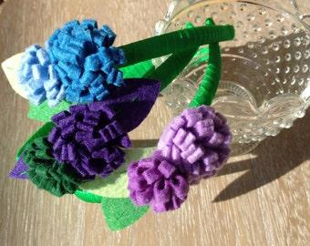 Headbands with felt flowers