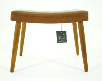 306-037.3 Danish Mid Century Modern Beech Footstool Stool Ottoman
