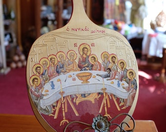 The Last Supper Icon on Natural Wood with Hand-painted Details