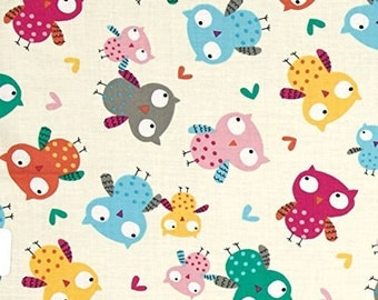Owls Cream Fabric Quilting Crafting Home Decor