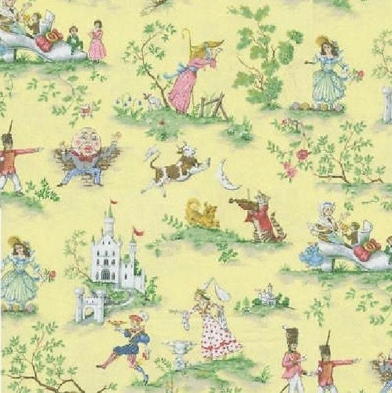 Over the moon yellow children baby nursery fabric printed for Baby nursery fabric yard
