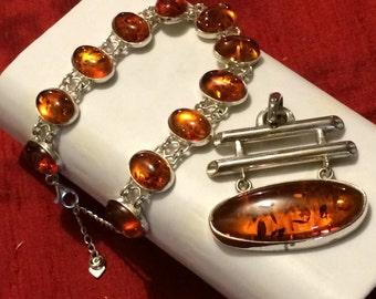 925 Silver Jewelry sets, smokey quartz and silver bracelet and pendant.