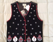 Black Snowman Ugly Christmas Vest - Small (V-2)