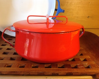 Danish Modern Dansk Kobenstyle Red Enamel Dutch Oven 4 Ducks Original with lid