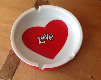 Vintage Retro Red Heart Love Ashtray