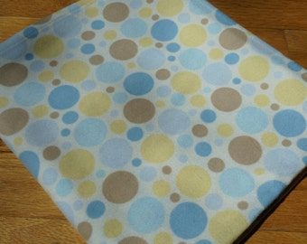 Baby Flannel Receiving Blanket, Blue Yellow and Brown Circles, Flannel Receiving Blanket, Swaddle Blanket, Large Blanket, Colored Circles