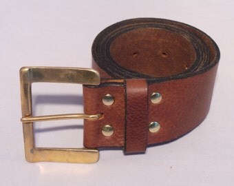 2 Inch Solid Brass Buckle for Sale on 2 Inch Leather Belt Strap for Jean - Black Brown Tan Red White Men's and Ladies Designer Accessories