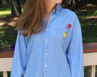 1990s Planet Mars M&M Denim Shirt