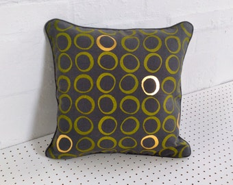Hand printed cushion cover in grey 100% linen, screen printed by hand in yellow with gold foil