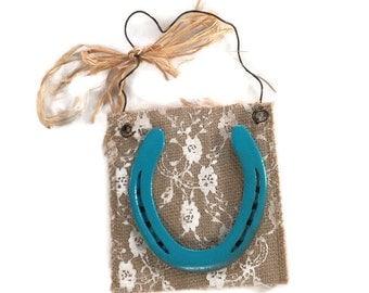 Turquoise Painted Horseshoe - Horseshoe Art - Horseshoe Decor - Horse Shoe Decor - Used Horseshoes - Custom Colors - Western Home Decor
