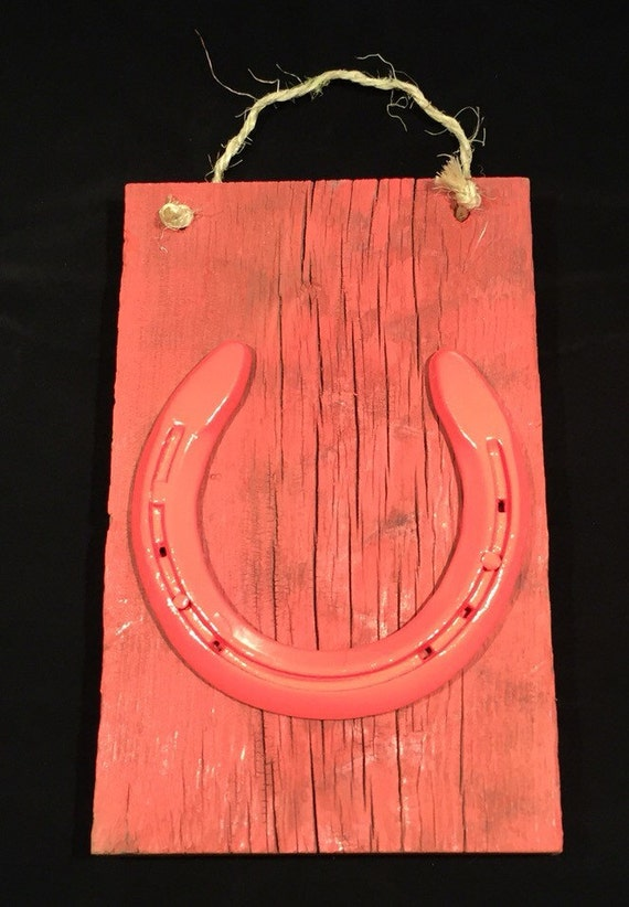 Coral Horseshoe Reclaimed Wood Wall Hanging Western Home