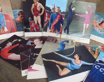 Set of 23 postcards with autographs. Soviet sportsmen - chempions of USSR, Europe, world and winners of the Olympic games. USSR 1970s