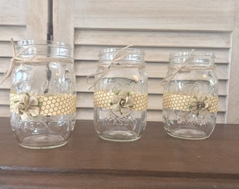 Set of (6) Rustic Bee Themed Baby Shower Pint Mason Jar Centerpiece Wraps, what will it bee baby centerpiece, meant to bee engagement party