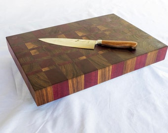 EndGrain Cutting Board, Black Walnut, Purpleheart