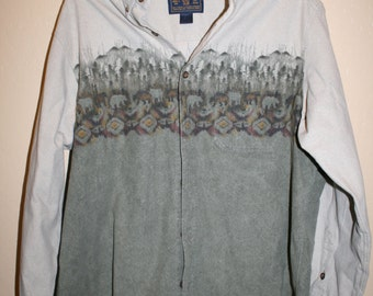 Vintage Woolrich Heavy Cotton Shirt Bears in Forest Mens XL