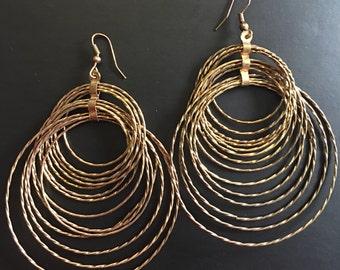 Vintage Gold Tone Long Dangle Circular Earrings