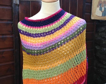 Multi coloured cotton poncho