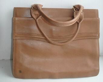 Vintage light brown genuine leather  handbag  portmanteau office bag purse from 60's