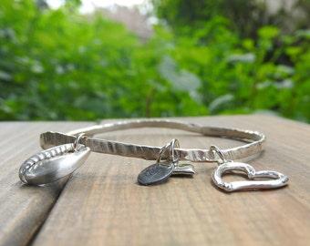 Sterling Silver Bangle, Charm Bracelet, Beach Jewelry, Sea Shell Charm Bracelet, Ocean Jewery, Island Jewelry, Best Friend Gift, Asymmetric